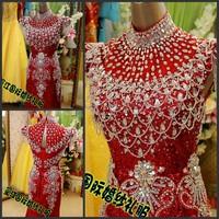 Ultimate luxury crystal formal dress formal dress toast the bride married formal dress 2013 red