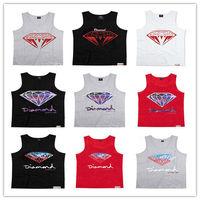 Wholesale Cool Summer Streetwear Men Singlet High Quality Cotton Diamond Vest Diamond Logo Tank Top Mix Order