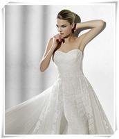 Fashion bride lace tube top slim waist short trailing wedding dress royal slimming quality wedding dress