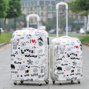 Cartoon white love female trolley luggage bag travel bag luggage 2024(China (Mainland))
