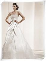 2013 new arrival fashion satin gived slim waist a quality lace wedding dress formal dress