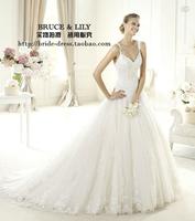 New arrival vintage 2013 V-neck spaghetti strap high waist sexy lace train wedding dress quality h