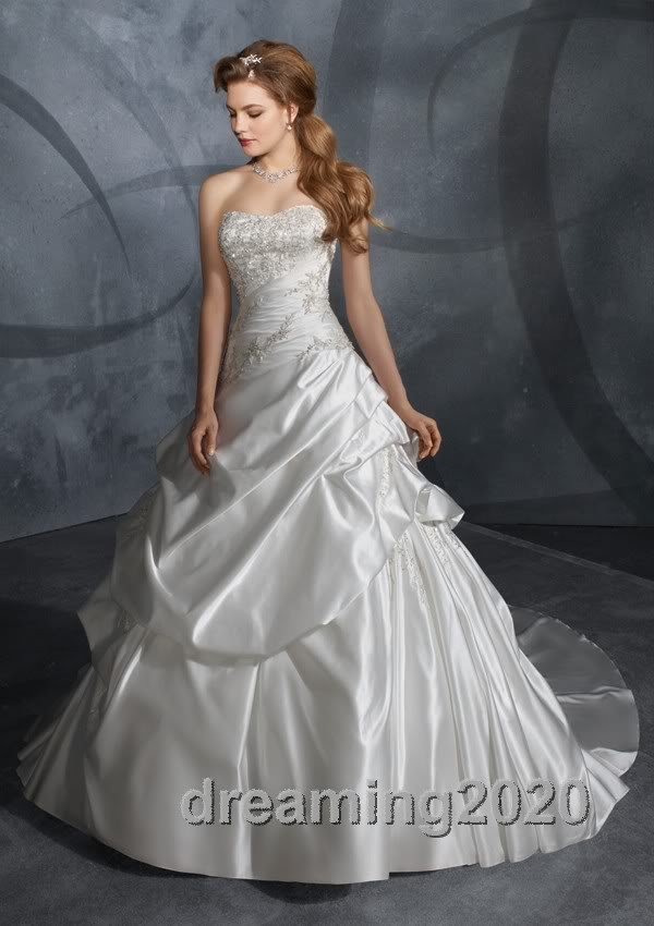 Wholesale - - Sexy series Lady's Taffeta Strapless Wedding Dresses Custom-made Applique Gown New Desig(China (Mainland))