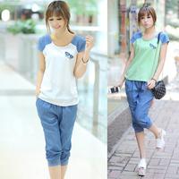 2013 summer thin t-shirt  twinset sweet patchwork sport suit