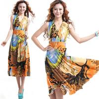 V-neck summer leopard print one-piece dress plus size chiffon beach 2013 tank dress full dress summer