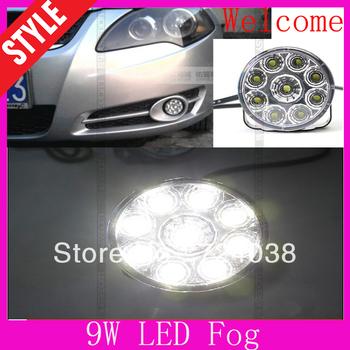 Wholesale discount New 2PCS Ultra-thin Super White 9 LED Car Daytime Running Light  fog lamp DRL car fog lights