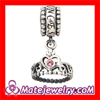 5pcs/lot Free Shipping European Big Hole Princess Crown With Light Rose Austrian Crystal Sterling Silver Dangle Charms.SS2621-3