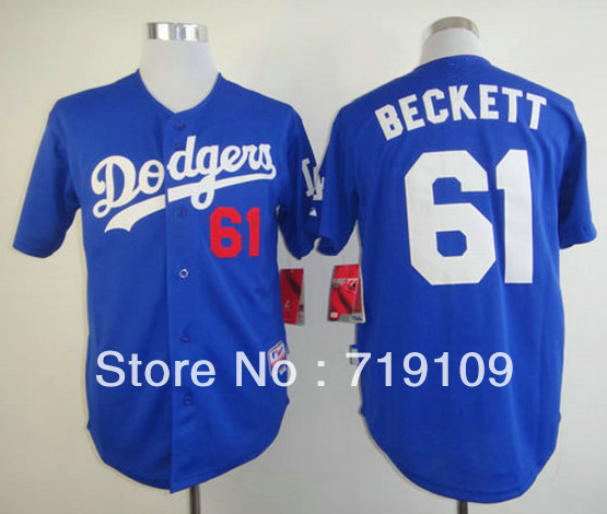 Free Shipping #61 Josh Beckett Men&#39;s Baseball Jersey,Embroidery and Sewing Logos,size M--3XL,Accpet Mix Order(China (Mainland))