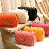 2014 Top Fasion Seconds Kill Freeshipping Women Pu Women's Handbag Female Chain Mini Bag Shoulder Summer Candy Color Messenger