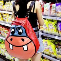 2014 Hot Sale Rushed Freeshipping Women Softback Character Pu Hippopotami Bag Cartoon Casual Student School Backpack Women's