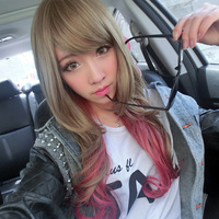 free shipping Wig long curly hair oblique bangs polyphenoloxidases two-color gradient high temperature wire 2013