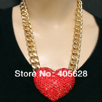Rhinestone Heart Toogle Link Chain Necklace, red/gold/silver color