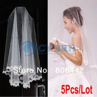 5Pcs/Lot Bridal Accessories Single Layer Lace Edge Wedding Bridal Veil Bridal Beads 2 Colors 13101