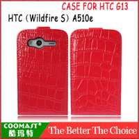 Free shipping 1PCS 100% Original Leather Crocodile pattern Case For HTC G13 A510e (Wildfire S) New Arrivel mobile phone case