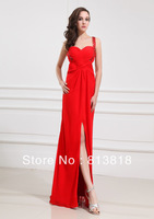 Free Shipping  Wholesale   Hot  Sale   Unique  100% Silk  Chiffon  Evening  Long  Dress  2013