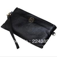 2013 genuine leather small day clutches evening dinner bag women's original logo brand designer messenger handbag black orange