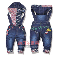 HOT!!Free Shipping!top quality baby jeans fashion girl/boy han2 ban3 denim overalls autumn infant trousers Wholesale And Retail