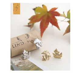 Free Shipping promotion jewelry wholesale, new arrive cute gold map stub earrings, lovely leaves earrings, 36pairs/lot, ER049(China (Mainland))