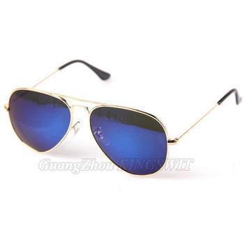Brand Designer Fashion Blue Mirror Sunglasses Brand Aviator Mirror Reflect Metal Sunglasses Women Wholesale 3pcs Free Shipping