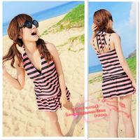 FREE SHIPPING! Akf stripe bodysuit swimwear split skirt piece set steel push up bikini female