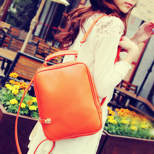 Free shipping! Orange rectangle women&#39;s backpack summer sweet gentlewomen candy color orange bags(China (Mainland))