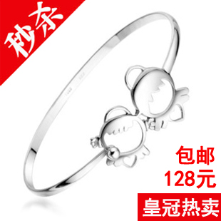 Free shipping S925 pure silver bracelet CHOW TAI FOOK a lifetime fuxing silver baby bracelet hand ring female(China (Mainland))