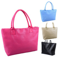 2013 fashion women woven handbag large capacity beach bag   Laptop messenger bag for women PU leather bag