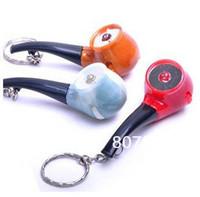 Free Shipping 40pcs/lot Pipe Shape Led light flashlight keychain creative practical key chain pendant Led Gifts Fashion Design
