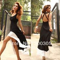 Sexy Women/Lady Deep U Neck Bare Back Backless Dress Hem Tank Swallow Tail Sleeveless Summer Long Dress free shipping 051201