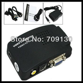 Free shipping  AV/S Video To VGA TV CCTV BNC/RCA S-Video AV to VGA Converter Adapter Converter