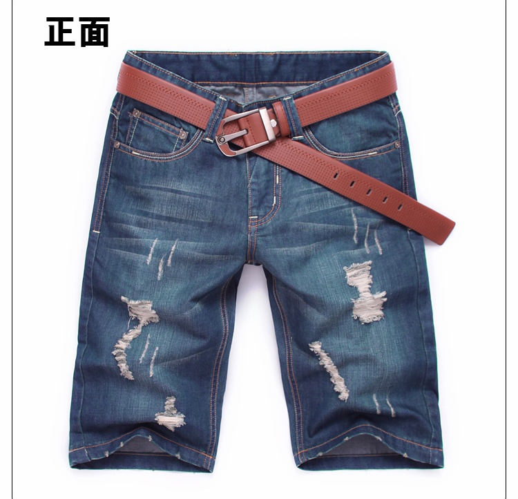 Free Shipping New Fashion High Quality Men Shorts Hole Jeans Cropped Trousers(China (Mainland))
