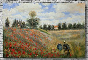 Oil paintings on canvas 100%Handpainted Poppies at Argenteuil The sitting room adornment bedroom contracted Europe type scenery(China (Mainland))