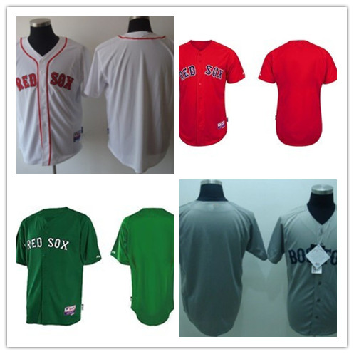 free shipping white green red Boston Red Sox blank baseball cheap adult men jersey Embroidery logo(China (Mainland))