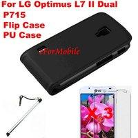 Flip PU Case Mobile Phone Case+Screen Protector + Mobile Phone Pen  For LG Optimus L7 II Dual P715