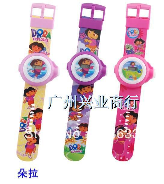 free shipping Dora Cartoon Projection Kid Boots Projector Digital Watch 5pcs/lot(China (Mainland))