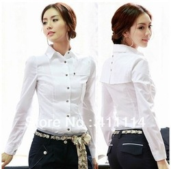 2013 new Promotions hot trendy cozy women blouse shirts Fashion Korean business attire Slim cotton shirt with a solid color(China (Mainland))