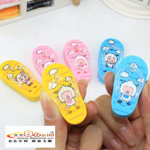Korea stationery cartoon jubilance mini slippers style eraser d31 single(China (Mainland))