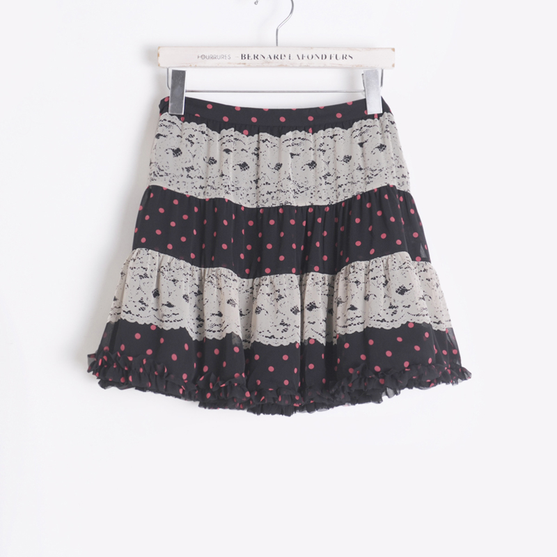 Free Shippin Color block 9 polka dot A - shaped type 2013 summer bust skirt short skirt 32sc1218 black(China (Mainland))