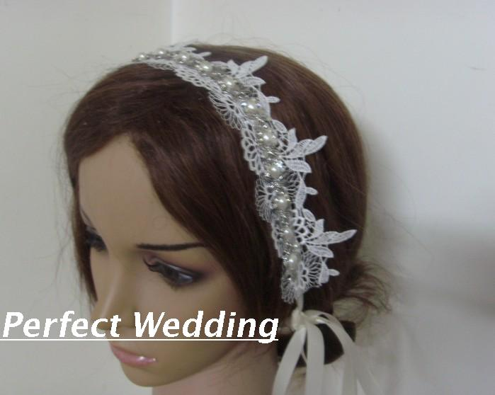Bride rhinestone chain flower cutout lace hair band(China (Mainland))