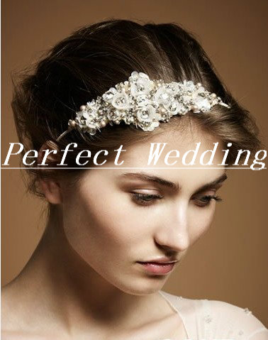 Luxury fashion bride accessories crystal pearl small flower hair bands(China (Mainland))