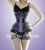 Free Shipping Push Up Corset Sexy Lingerie with G-string Women Bustier Gothic Corset Shaper Purple Color MOQ 1 Piece 5813
