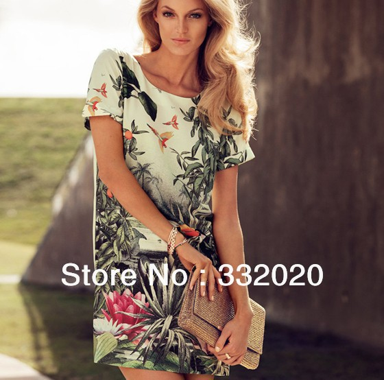 2013 Free shipping Hot Sale Tropical Rainforest Parrot Pattern Printed Chiffon Women dress ladies Slim fit casual dresses(China (Mainland))