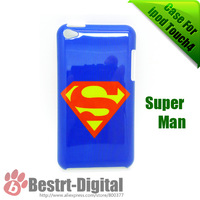 Free Shipping, Super Man Design, Back Cover Skin, Hard case for ipod Touch4, Hot sale item