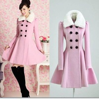Free shipping pink fur collar double breasted full sleeve women slim woolen blend coat & jacket winter new fashion outerwear