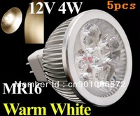 5pcs/lot 4W GU5.3 MR16 led lamp Warm White bulb Lamp 12V LED Spot light Spotlight Free Shipping
