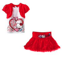 2013 children's clothing suits 5pcs/lot 100% cotton t-shirt+skirt girls cothes kitty set cartoon clothes free shipping