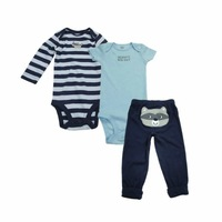 baby boy romper + pant 3 piece set