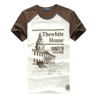 2013 summer male o-neck color block decoration 100% cotton short-sleeve T-shirt male fashion men's clothing 354