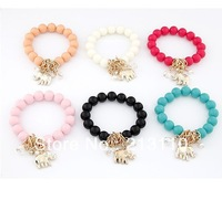 New Fashion Colorful Elephant Pendant Beads Bracelet Jewelry For Women High Quality Free Shipping