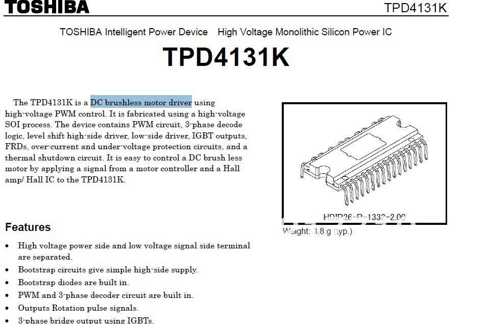DC brushless motor driver HDIP26 IPD TPD4131K Wholesale(China (Mainland))